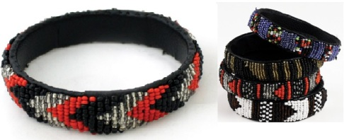 AfricaImports-Kenyan Beaded Leather Bracelet